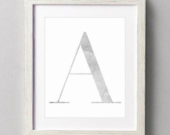 Letter A | Nursery Print | Nursery Art | Alphabet | Instant Download | Digital Print | Wall Art | Gray | Initials | Grey | Gender Neutral