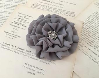 Gray Flower Hair Clip.Gray Flower Brooch.Pin.Chiffon.Bridesmaid headpiece.Gray Hair Piece.Hair Accessory.Grey Head Piece.Medium Gray.ruffle