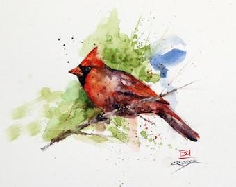 CARDINAL on BRANCH Watercolor Bird Print by Dean Crouser