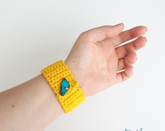 Crochet Bracelet, Statement Bracelet, Gift For Girlfriend, Summer Bracelet, Crochet Jewelry Yellow Color Cuff Bracelet, Women Accessory