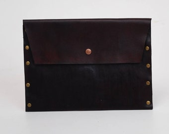 Leather Clutch - Clutch bags - Clutch Purse - Leather Handbag - Stocking Stuffer - Rivet Clutch - Brown Leather Clutch - Foldover Clutch