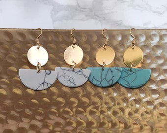Turquoise Geo Statement Earrings