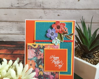 Mother's Day Card, Handmade Card, Handmade Mother's Day Card, Floral Card