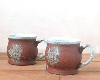 Set of 2 Mugs, 20 oz. Coffee Mug, Wheel Thrown Mug, Autumn Leaf Mug, Ceramic Mug, Rustic Pottery Mug, Christmas Gift Mug, Stoneware Mug