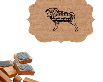 Pug in Christmas Sweater Olive Wood Stamp