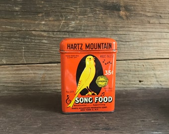 Vintage Tin Colorful Lithograph Hartz Mountain Song Food or Bird Food Tin