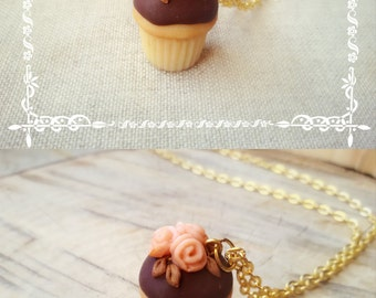Rose cupcake necklace, french style jewelry, miniature food jewelry, cupcake pendant, kawaii necklace, best friend gift