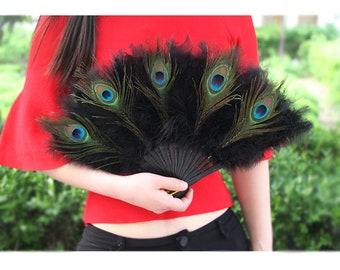 Peacock Feather Head Fans Black Marabou Feather Fans Wedding Fans Bride Fans