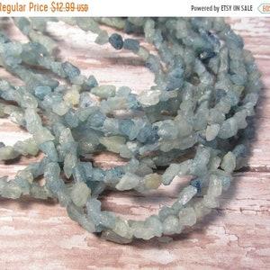 SALE Hammered Aquamarine  Nugget Gemstone Beads Small 5mm 6mm , Raw Rough Aquamarine Beads
