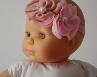 Baby headband pink chiffon flower your old man
