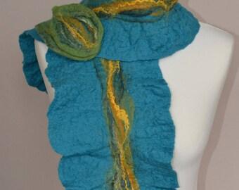 Turquoise merino wool felt scarf. Blue merino scarf. Blue wool scarf. Blue felt scarf. Turquoise merino wool scarf. Blue yellow green scarf