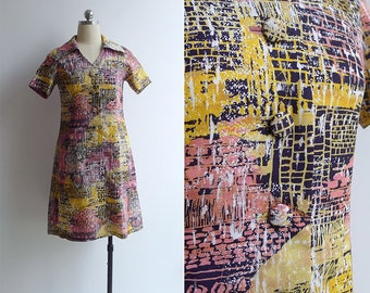 Vintage 70's 'Graffiti' Abstract Print Silky Collared Shift Dress XS or S