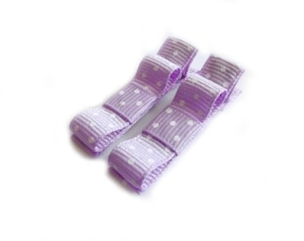 Light Purple Hair Clips Purple Polka Dot Hair Clips Tuxedo Bows Baby Girl Hair Clips Baby Hair Clips Purple Bows Polka Dot Bows Baby Bows