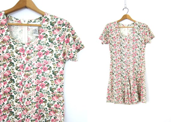 Vintage 80s Romper Pink Floral One Piece Mini Culottes Shorts Jumper Floral Print Mini Dress Shorts Casual Short Skirt Womens Size Large