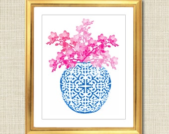 Blue and White Ginger Jar Digital Art Print, Chinoisierie Chic, INSTANT DOWNLOAD, Blue and White Chinoiserie Vase, Pink Floral Art Print