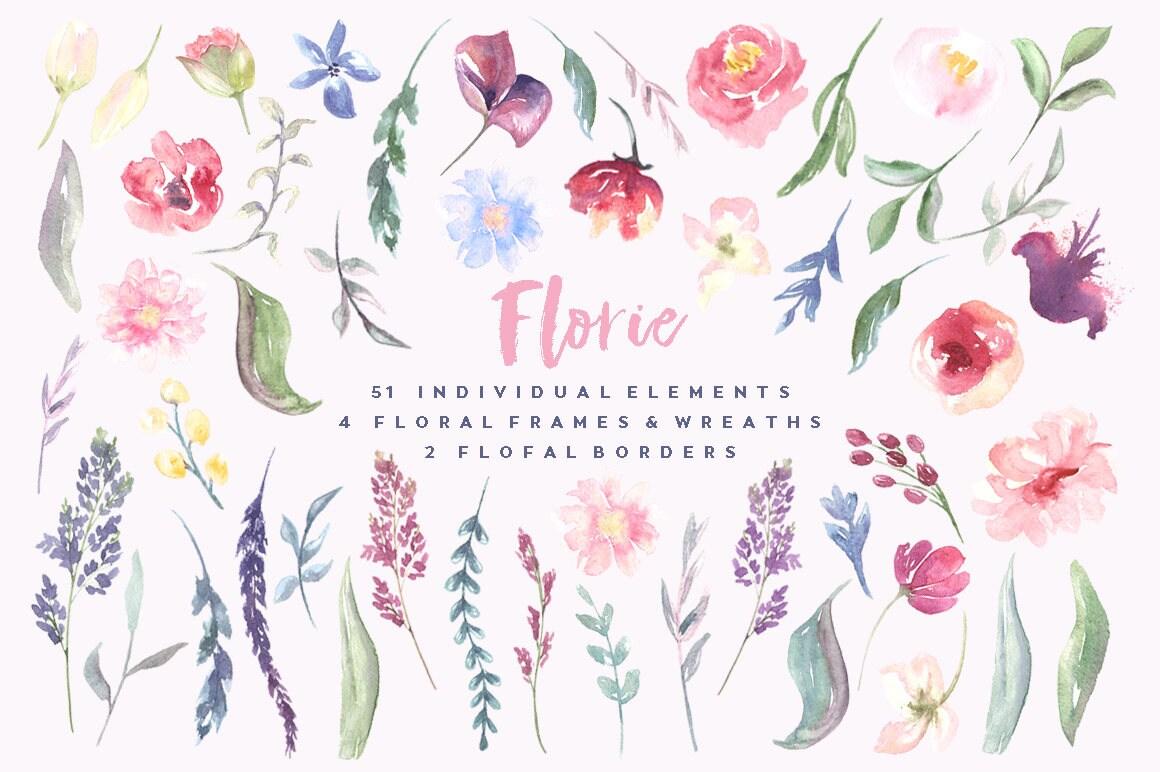 Handgemalte Aquarelle Blumen Rahmen und Kränze Blumen