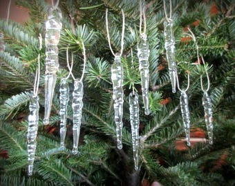 Blown Glass Winter Holiday Icicle Ornaments - set of 6