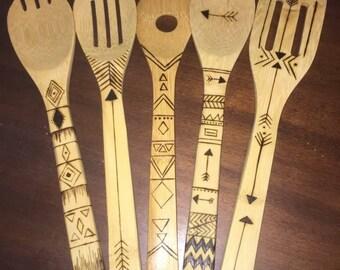 Tribal Print Bamboo Spoons