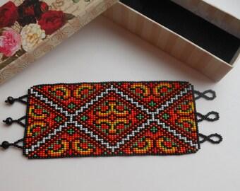 Ukrainian Embroidery Bead Bracelet  Ukrainian ethnic bracelet Wide bracelets Ukrainian gift Vishivanka Ukrainian Jewelry Ukrainian bracelet