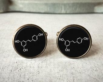 Wine Cufflinks,  Molecule Cuff Links, Gift for Groom, Scientist Cufflinks, Groomsmen gift, Customize - Silver or Brass