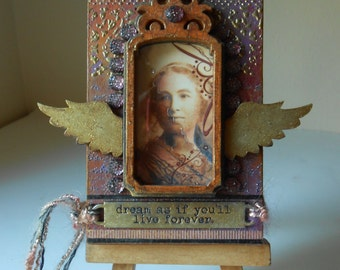 Dream As If You'll Live Forever, Artist Trading Block, Mixed Media Original, Lady With Wings, Purples and Golds