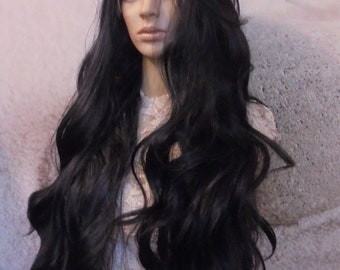 1B human hair blend lace front wig 33'' Curley