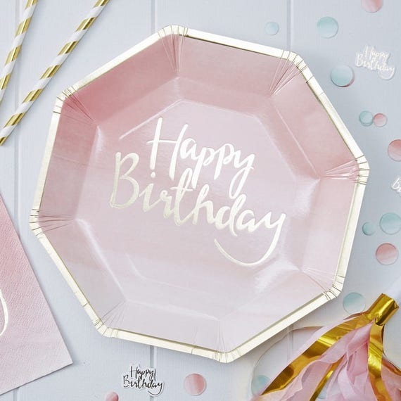 Like this item? & Pink Party Plates.Happy birthday Baby Pink Plates.Large