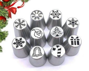 Christmas Russian Nozzles Decoration Tips Cake Cupcake Decorating Tools Icing Piping Nozzle Baking 10pcs/Set