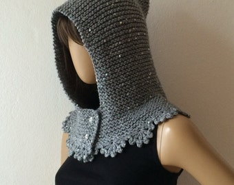 Knitted Hood, Scoodie, Gift for Her, Hooded Scarf, Knit Hood, Hooded Cowl, Hood Scarf