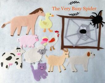 The Very Busy Spider Felt Board Story/Flannel Board/Imagination/Preschool/Creative/teaching resource/Color/Handmade Felt/Animals/