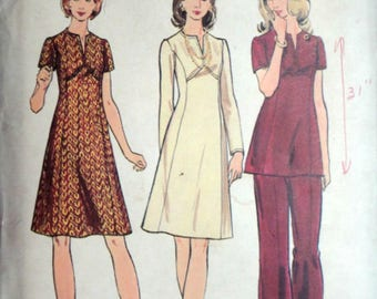 Vintage 70's Butterick 6846 Sewing Pattern, Women's Half-Size Dress, Tunic, And Pants, Size 18 1/2, 41 Bust, Retro 1970's