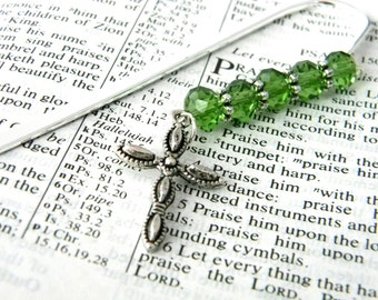 Pretty Cross Bookmark with Green Beads Shepherd Hook Steel Bookmark Silver Color