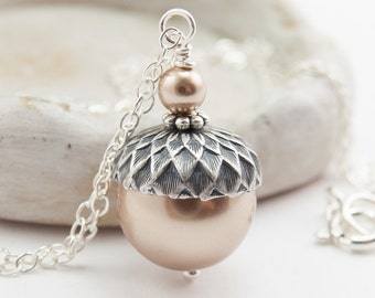 Acorn Necklace Pendant Necklace Sterling Silver Bronze Swarovski Pearls . Winter Wedding Bridesmaid Gift Autumn Wedding