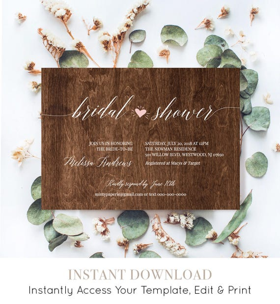 Bridal Shower Invitation Template, Instant Download, Printable Wedding Shower Invite, Rustic Wood Heart, 100% Editable, DIY #NC-202BS