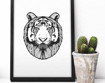Black and White Tiger Art Print | Home Art Print | Home Decor | Animal Print