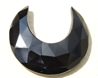 Only On Our Shop 1 Pc Beautiful Natural Black Onyx Rose Cut Faceted Carved Moon Cut Loose Gemstone Size - 29X29X12 MM