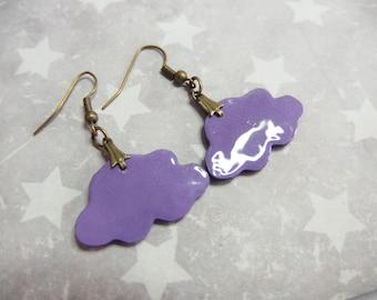 Earrings purple violet color enamel effect clouds