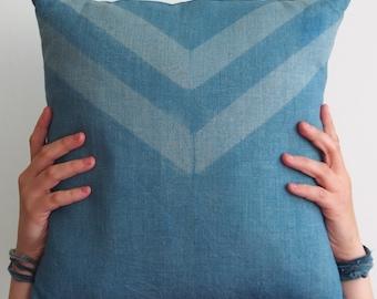 """Indigo Shibori Pillow - Throw Pillow 16"""" x 16"""", Linen Pillow, Natural Indigo Pillow, Hand Dyed Pillow, Shibori Pillow, Itajime Shibori, Blue"""