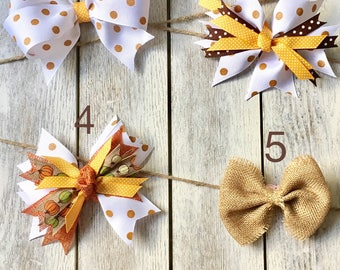 Thanksgiving Bow, Halloween Bow, Fall Bow Collection, Hair accessory, Little Girls, Baby, Barrette