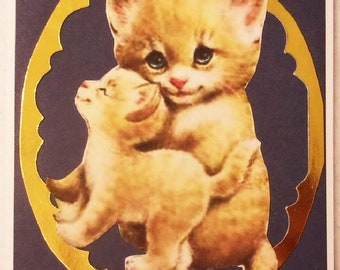 Momma and Baby Kitten Handmade  Greeting Card, All Occasion Kitten on Navy with gold Card, Made in the USA, #14