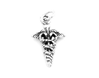 Sterling Silver Medical Caduceus Charm (3d Charm)
