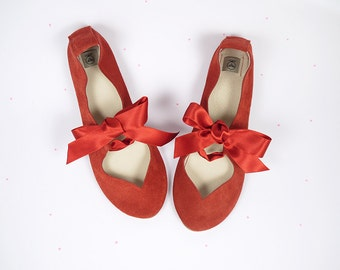 Ballet Flats With Ribbon. Ballet Flats. Mary Jane Shoes. Red Women Shoes. Wedding Shoes. Flat Wedding Shoes. Bridal Ballerinas. Red Leather