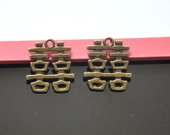various Charms -15pcs Antique  Bronze various Charm Pendants---22*21mm--G0050