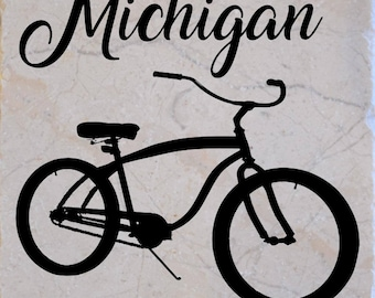 "Set of 4 ""Bicycle Michigan"" Coasters.  Free Shipping"