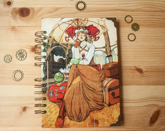 """NOTEBOOK """"Traveler"""" fantasy colour pages, white pages , for drawing, witch, 150 pages, big, sketchbook, steampunk, notebook, perfect gift"""