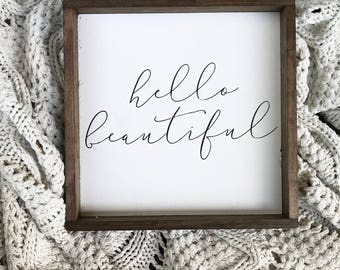 Hello Beautiful Sign. Wood Framed sign. Farmhouse Decor. Cottage Decor. Wood Sign. Calligraphy Sign.