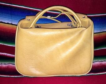 Vintage Yellow/Mustard Tucky Top Handle Handbag