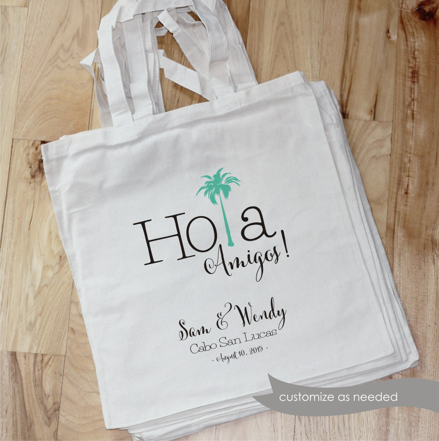 MEXICO Destination Wedding Bag Hola Amigos 14x15 cotton