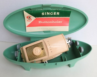 Singer Buttonholer Sewing Machine Attachment with Templates in Mod Aqua Storage Case 489500 489510