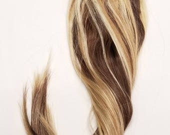 18inches 7-14pcs, 80-160grams, Clip In Human Hair Extensions Swirls 4/30/27/613 Mixed Brown,Auburn,Strawberry & Platinum Blondes